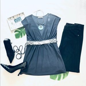 V-Neck Gray Top with Silver Detail